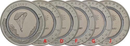 Lieferumfang:Deutschland : 10 Euro In der Luft - Komplettsatz 5 Münzen A-J  2019 bfr