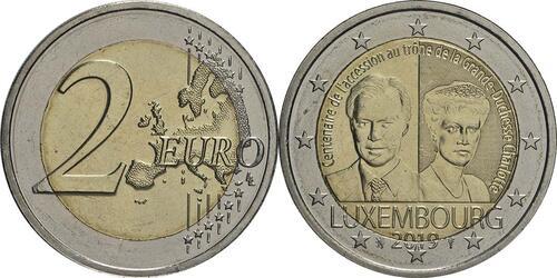 Lieferumfang:Luxemburg : 2 Euro 100. Jahrestag von Großherzogin Charlottes Thronbesteigung und Hochzeit  2019 bfr