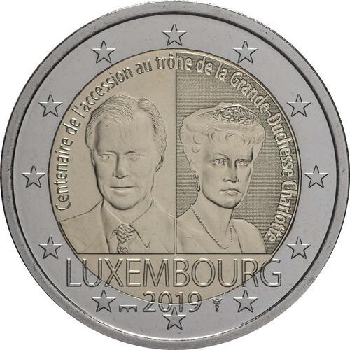 Rückseite:Luxemburg : 2 Euro 100. Jahrestag von Großherzogin Charlottes Thronbesteigung und Hochzeit - Münzzeichen Brücke  2019 bfr