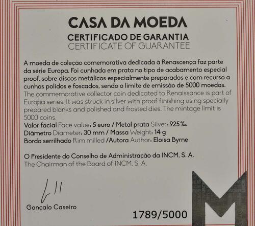 Zertifikat:Portugal : 5 Euro Renaissance  2019 PP
