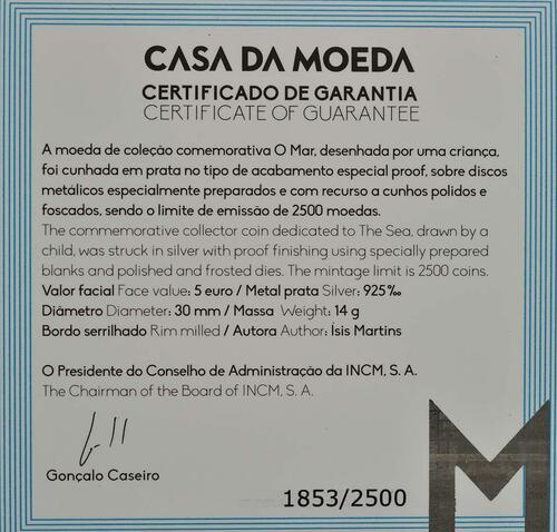 Zertifikat:Portugal : 5 Euro Das Meer gezeichnet von einem Kind  2019 PP