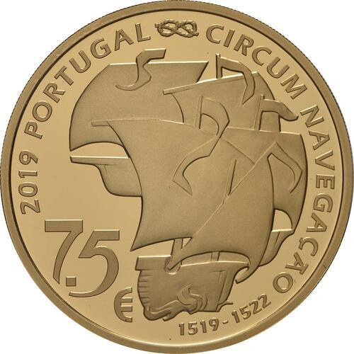 Rückseite:Portugal : 7,5 Euro 500. Jahrestag der Weltumseglung durch Magellan  2019 PP