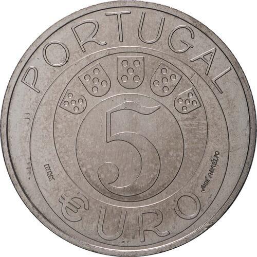 Rückseite:Portugal : 5 Euro 45 Jahre Nelkenrevolution  2019 bfr