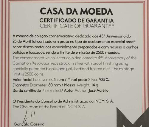 Zertifikat:Portugal : 5 Euro 45 Jahre Nelkenrevolution  2019 PP