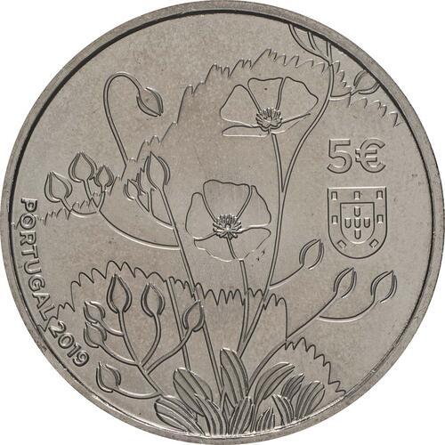 Rückseite:Portugal : 5 Euro Tuberaria Major - Sandröschen  2019 bfr