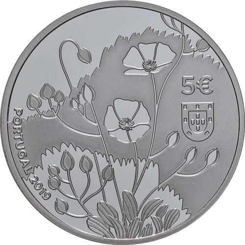 Rückseite:Portugal : 5 Euro Tuberaria Major - Sandröschen  coloriert   2019 PP