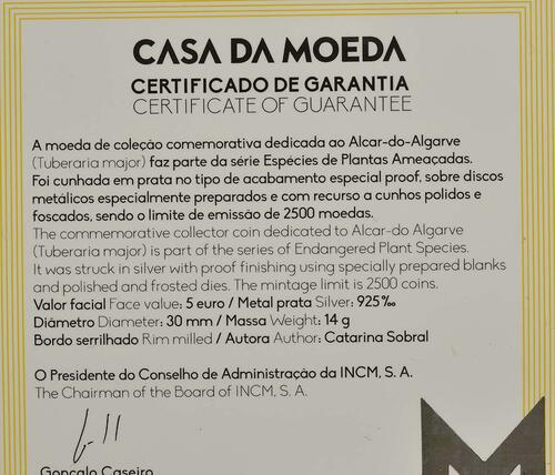 Zertifikat:Portugal : 5 Euro Tuberaria Major - Sandröschen  coloriert   2019 PP