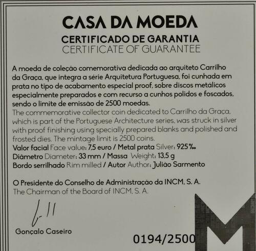 Zertifikat:Portugal : 7,5 Euro Carrilho Da Graca  2019 PP