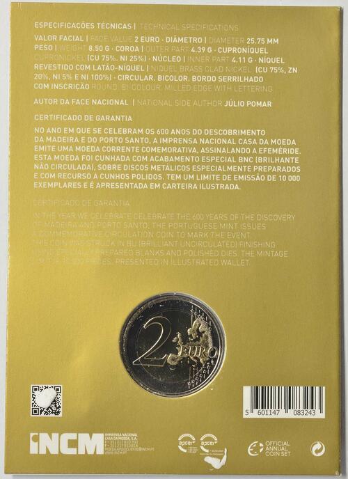 Zertifikat:Portugal : 2 Euro 600. Jahrestag der Entdeckung der Insel Madeira  2019 Stgl.