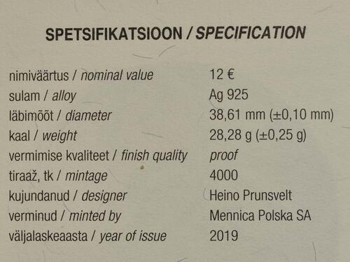 Zertifikat:Estland : 12 Euro 200. Geburtstag Johann Voldemar Jannsen  2019 PP