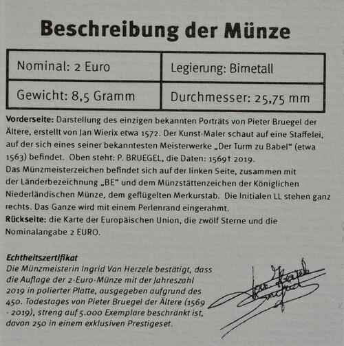 Zertifikat:Belgien : 2 Euro 450 Jahre Pieter Bruegel der Ältere  2019 PP