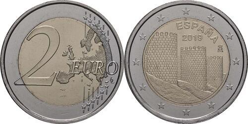 Lieferumfang:Spanien : 2 Euro Altstadt von Ávila und Kirchen außerhalb der Stadtmauer  2019 bfr