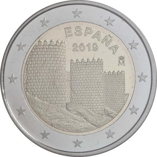 Rückseite:Spanien : 2 Euro Altstadt von Ávila und Kirchen außerhalb der Stadtmauer  2019 PP