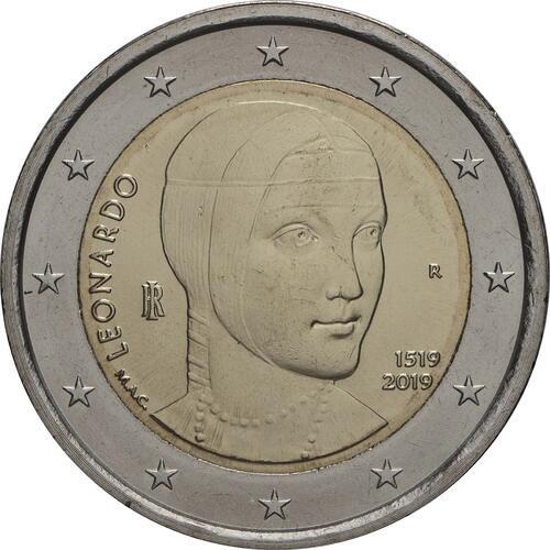 Rückseite:Italien : 2 Euro 500. Todestag von Leonardo da Vinci  2019 bfr