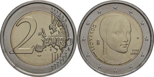 Lieferumfang:Italien : 2 Euro 500. Todestag von Leonardo da Vinci  2019 bfr