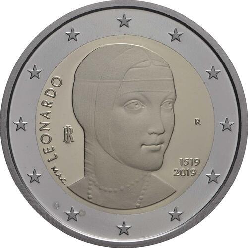 Rückseite:Italien : 2 Euro 500. Todestag von Leonardo da Vinci  2019 PP
