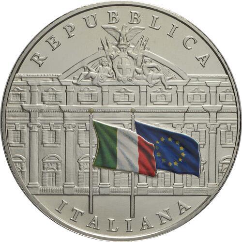 Vorderseite:Italien : 5 Euro 150. Jahre Staatsrechnungshof - coloriert  2019 Stgl.