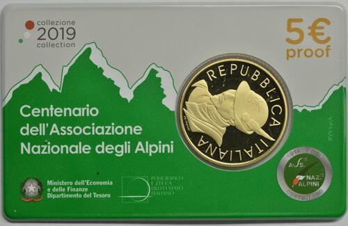 Lieferumfang:Italien : 5 Euro 100 Jahre Alpine Vereinigung  2019 Stgl.
