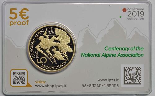 Zertifikat:Italien : 5 Euro 100 Jahre Alpine Vereinigung  2019 Stgl.