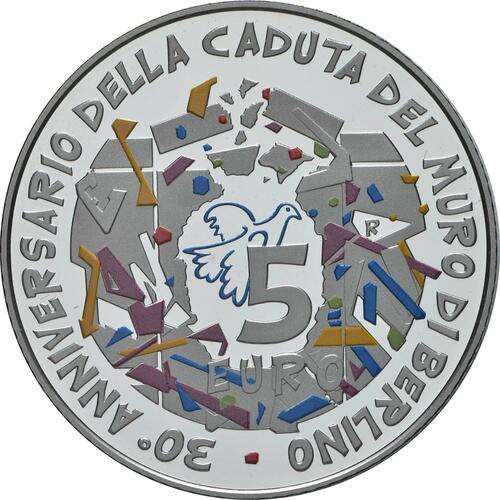 Rückseite:Italien : 5 Euro 30. Jahrestag Fall der Berliner Mauer  2019 PP