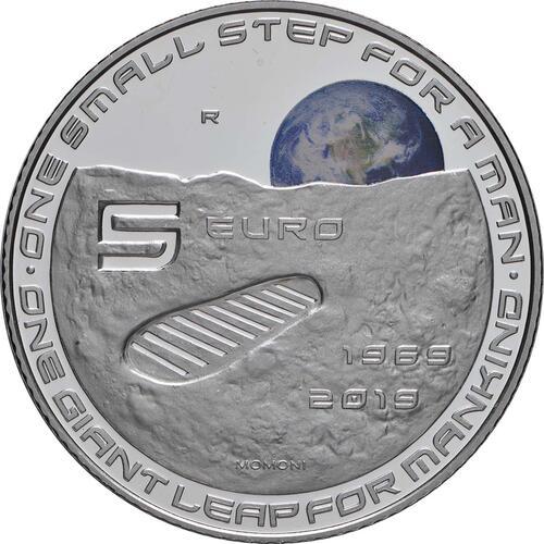 Vorderseite:Italien : 5 Euro 50. Jahrestag der Landung auf dem Mond - coloriert  2019 PP