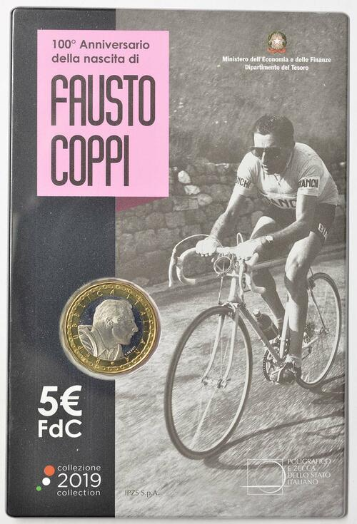 Lieferumfang:Italien : 5 Euro 100. Geburtstag Fausto Coppi  2019 Stgl.