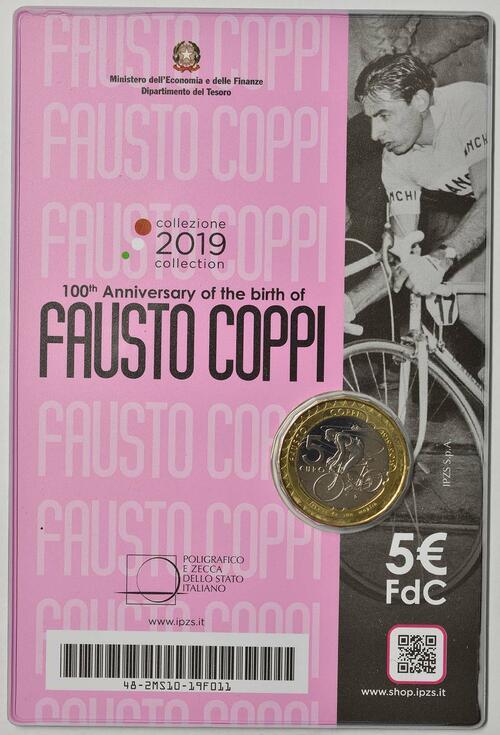 Zertifikat:Italien : 5 Euro 100. Geburtstag Fausto Coppi  2019 Stgl.