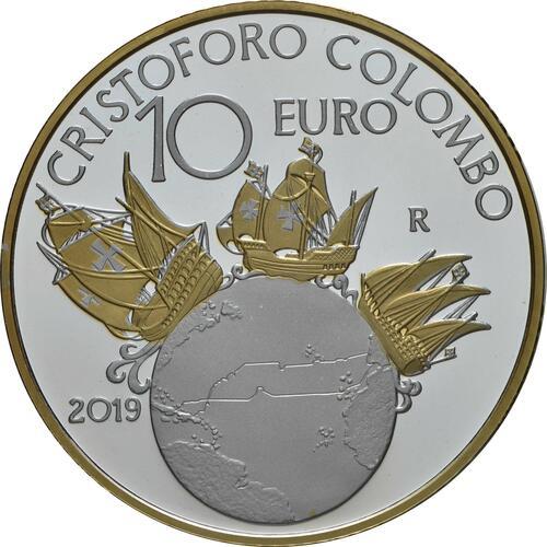 Rückseite:Italien : 10 Euro Christoph Kolumbus - vergoldet  2019 PP