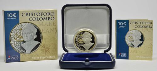 Lieferumfang:Italien : 10 Euro Christoph Kolumbus - vergoldet  2019 PP