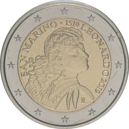 Rückseite:San Marino : 2 Euro 500. Jahrestag des Todes von Leonardo da Vinci  2019 Stgl.