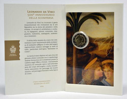 Lieferumfang:San Marino : 2 Euro 500. Jahrestag des Todes von Leonardo da Vinci  2019 Stgl.