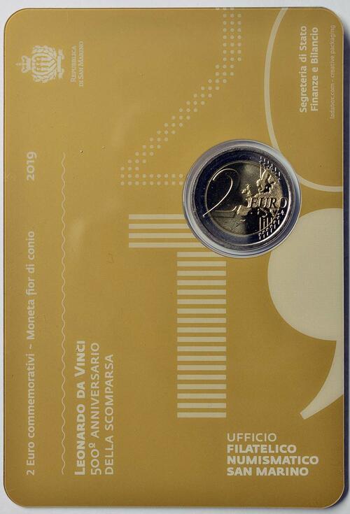 Zertifikat:San Marino : 2 Euro 500. Jahrestag des Todes von Leonardo da Vinci  2019 Stgl.