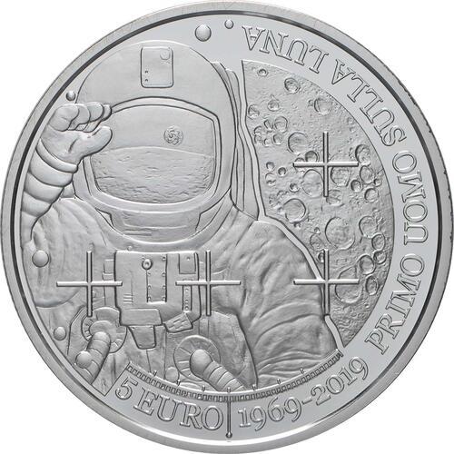 Vorderseite:San Marino : 5 Euro 50 Jahre Erste Mondlandung  2019 PP