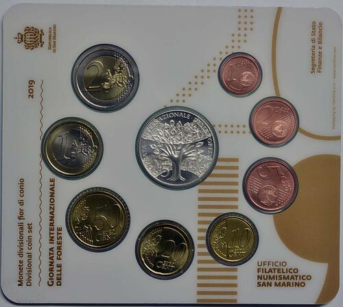 Rückseite:San Marino : 8,88 Euro KMS San Marino inkl. 5 Euro Internationaler Tag der Wälder  2019 Stgl.
