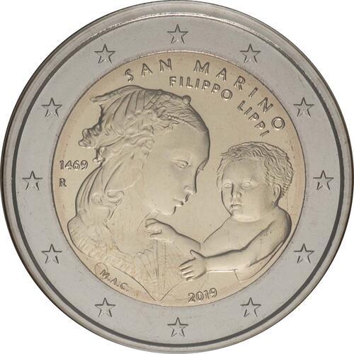 Rückseite:San Marino : 2 Euro 550. Todestag von Filippo Lippi  2019 Stgl.