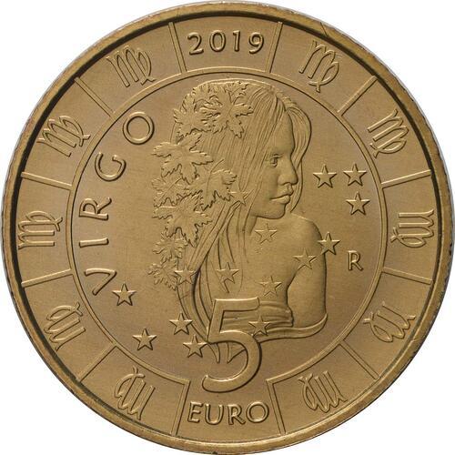 Vorderseite:San Marino : 5 Euro Jungfrau  2019 bfr