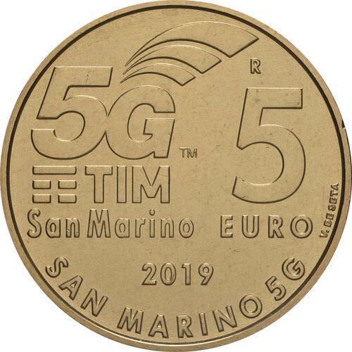 Vorderseite:San Marino : 5 Euro 5G-Netzwerk in San Marino  2019 bfr