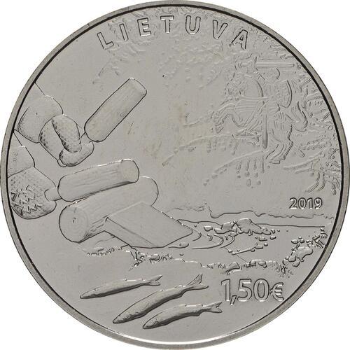Rückseite:Litauen : 1,5 Euro Stint - Angeln durch Anlocken  2019 bfr