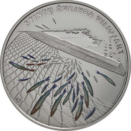 Vorderseite:Litauen : 10 Euro Stint - Angeln durch Anlocken - coloriert  2019 PP