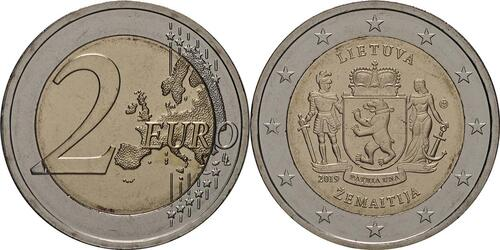 Lieferumfang:Litauen : 2 Euro Zemaitija (Samogitien)  2019 bfr