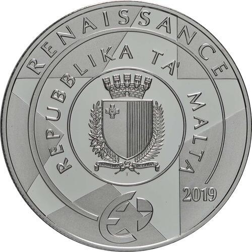 Rückseite:Malta : 10 Euro Flaggschiff des Ordens von St. John  2019 PP