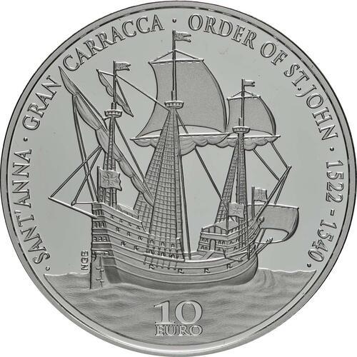 Vorderseite:Malta : 10 Euro Flaggschiff des Ordens von St. John  2019 PP