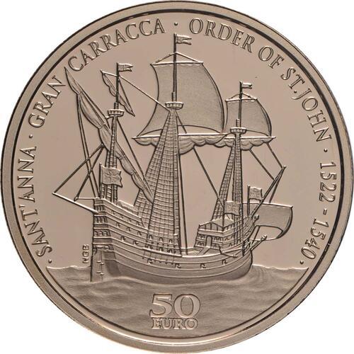Vorderseite:Malta : 50 Euro Flaggschiff des Ordens von St. John  2019 PP