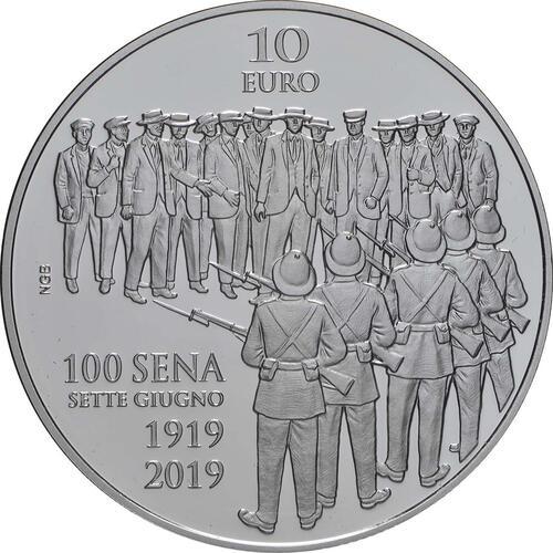 Vorderseite:Malta : 10 Euro 7. Juni - Aufstand gegen die britische Militärverwaltung 1919  2019 PP
