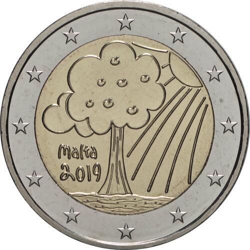 Rückseite:Malta : 2 Euro Von Kindern mit Solidarität - Natur, Umwelt  2019 bfr