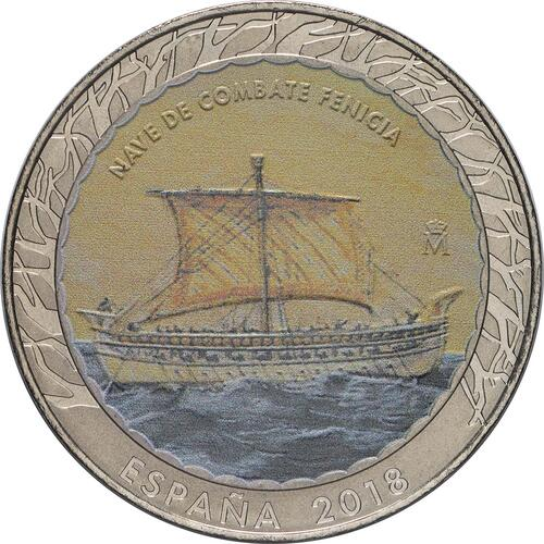 Vorderseite:Spanien : 1,5 Euro Phönizisches Kriegsschiff  2018 Stgl.
