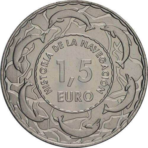 Rückseite:Spanien : 1,5 Euro Juan Sebastian Elcano  2018 Stgl.