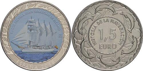 Lieferumfang:Spanien : 1,5 Euro Juan Sebastian Elcano  2018 Stgl.
