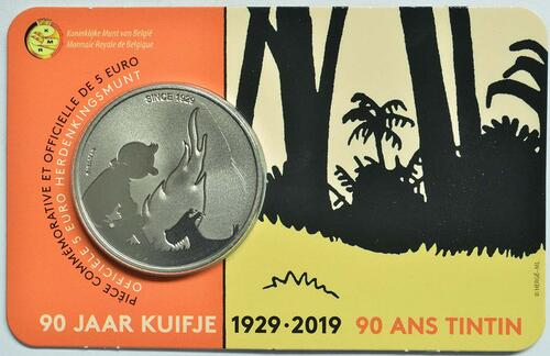 Lieferumfang:Belgien : 5 Euro 90 Jahre Tintin - Tim und Struppi  2019 Stgl.