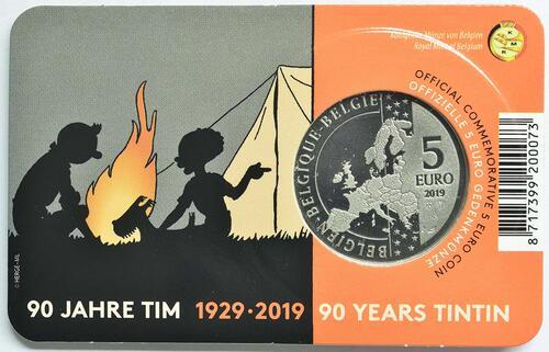 Zertifikat:Belgien : 5 Euro 90 Jahre Tintin - Tim und Struppi  2019 Stgl.